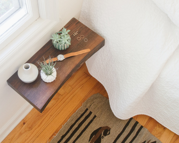 weekend project: how to make a floating wood slab bedside table Floating Bedside Table Diy