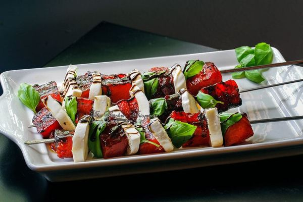 Grilled watermelon caprese skewers