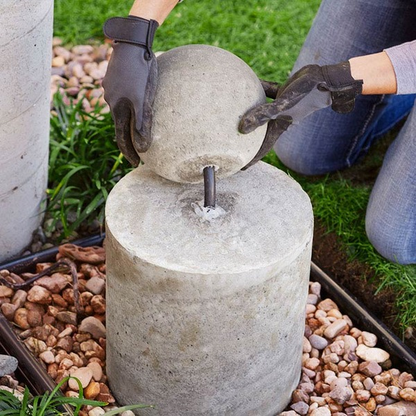 Diy Fountain Part - 30: Lowes Concrete Sphere Fountain