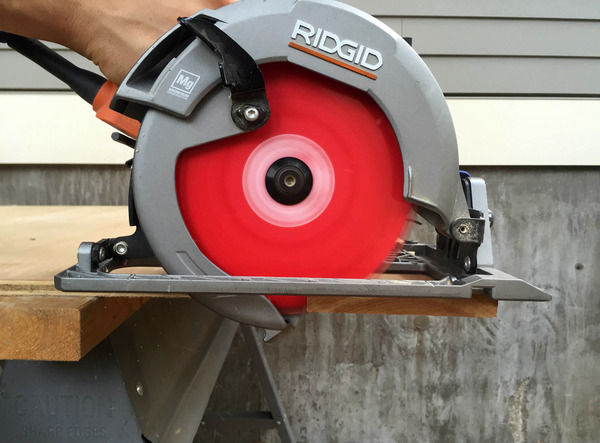 Get the saw blade up to full speed before entering the material
