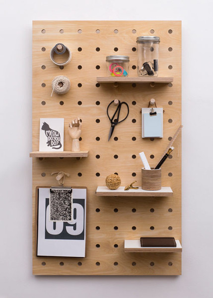 Check Out This Sharp Looking And Functional From Kreisdesign: A Large Scale  Wooden Pegboard Panel With A Variety Of Shelves, Pegs, And Hooks For Some  ...