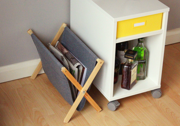 folding grey magazine rack
