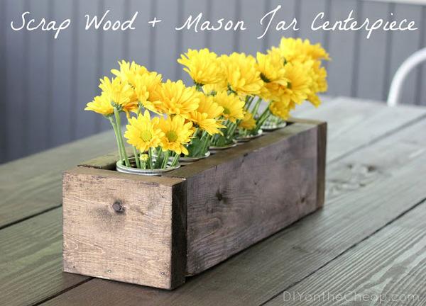 scrap wood and mason jar centerpiece