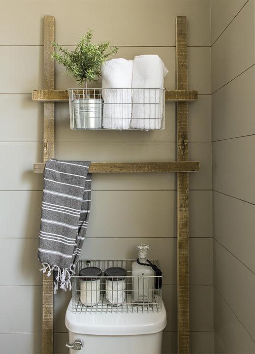 Rustic bathroom ladder