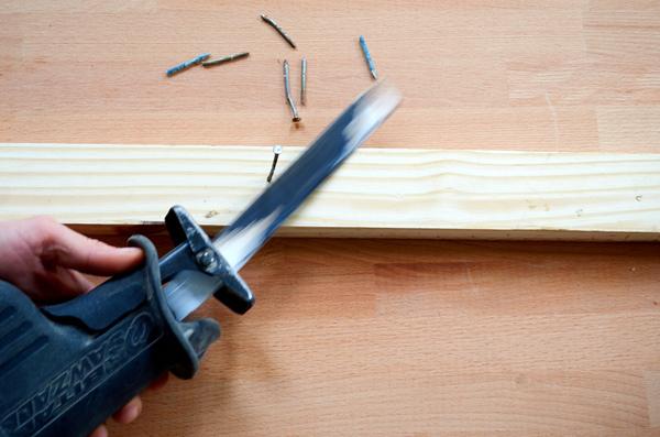 reciprocating saw flush cutting a nail