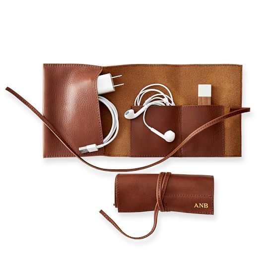 Roll up travel charger in leather