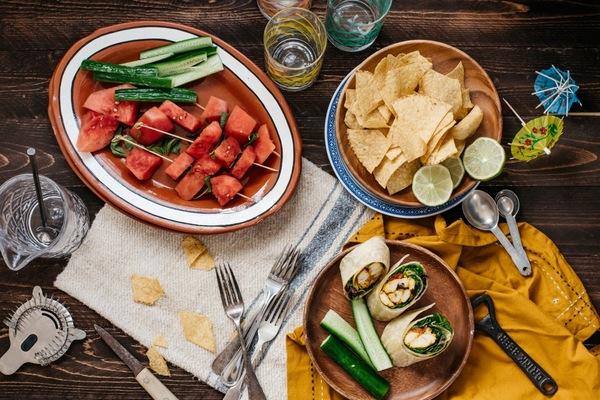 Watermelon-basil skewers