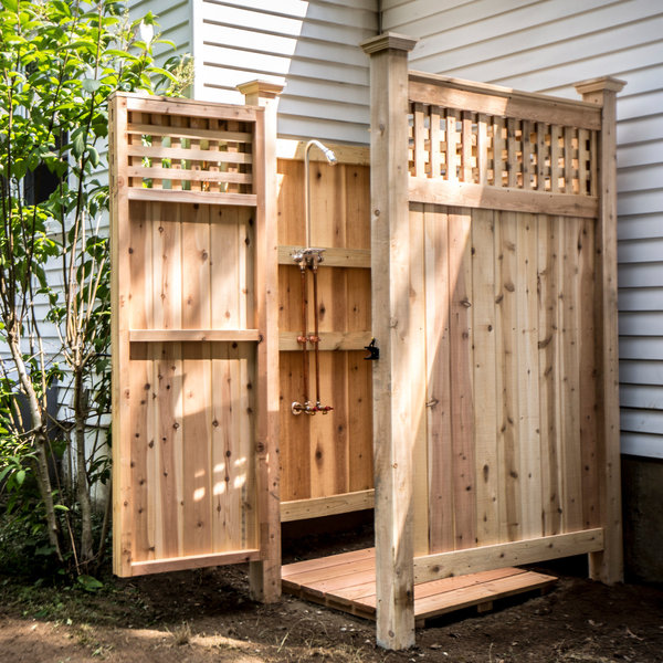 Make this 5 outdoor showers you can make today man made for Outdoor shower tower