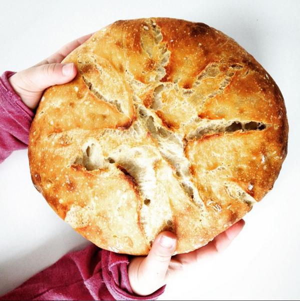 Simple sourdough! No knead bread in a Dutch oven