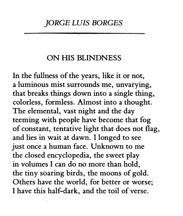borges essay blindness Borges essay on blindness december 12, 2017 all about me personal narrative essays essay on macbeth act ii scenes ii the crucible communication reflection.