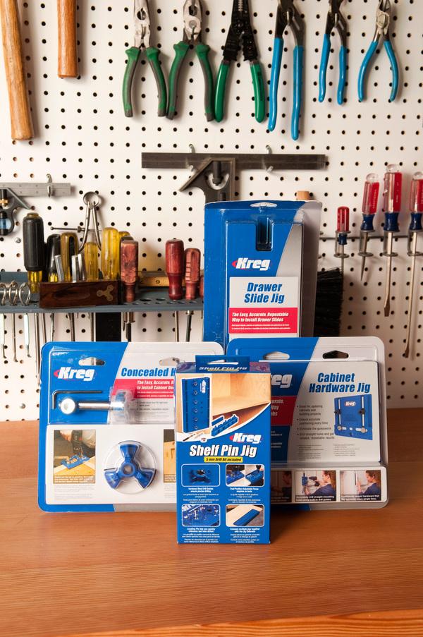 Kreg Concealed Hinge Jig, Drawer Slide Jig, Shelf Pin Jig, Cabinet Hardware Jig