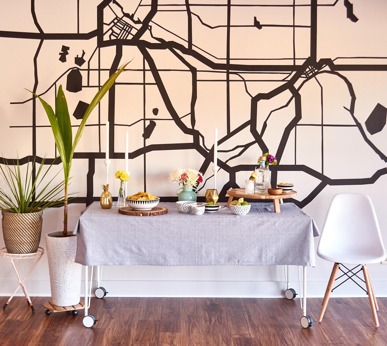 Party decor idea: simple masking tape wall art