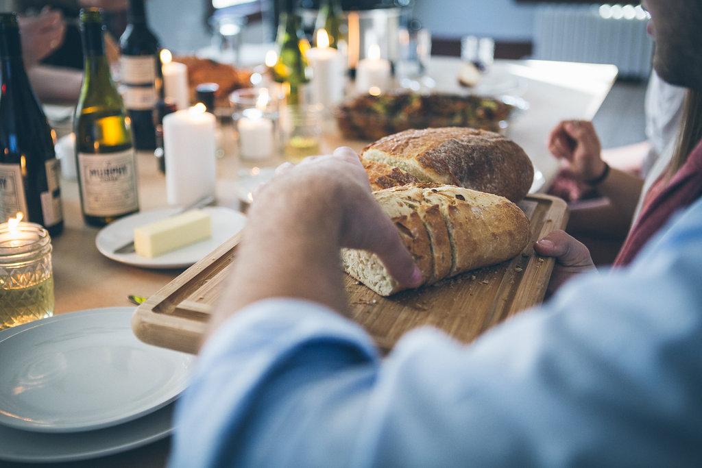 passing bread at dinner