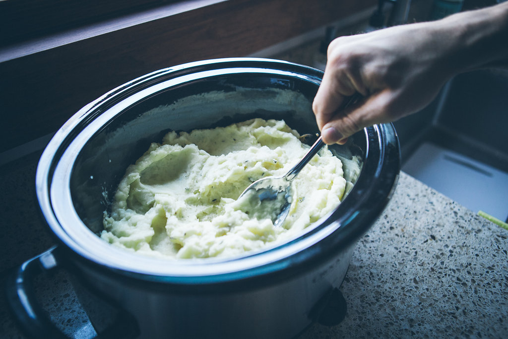 Stirring mashed potatoes