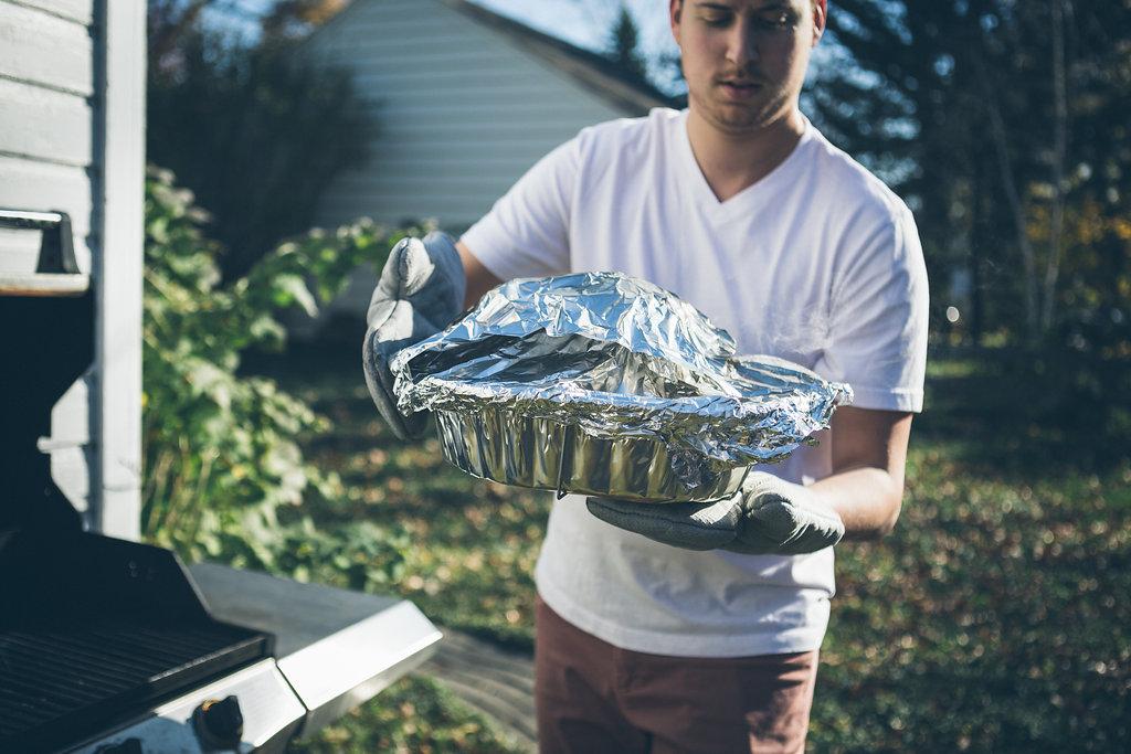 Grilling a turkey