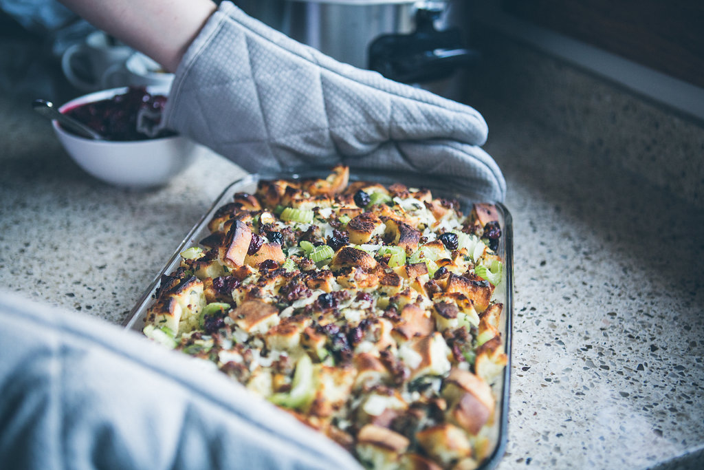 Taking Thanksgiving stuffing out of the oven