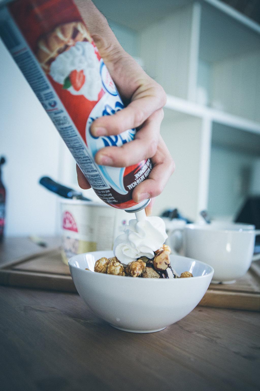 desert with whipped cream