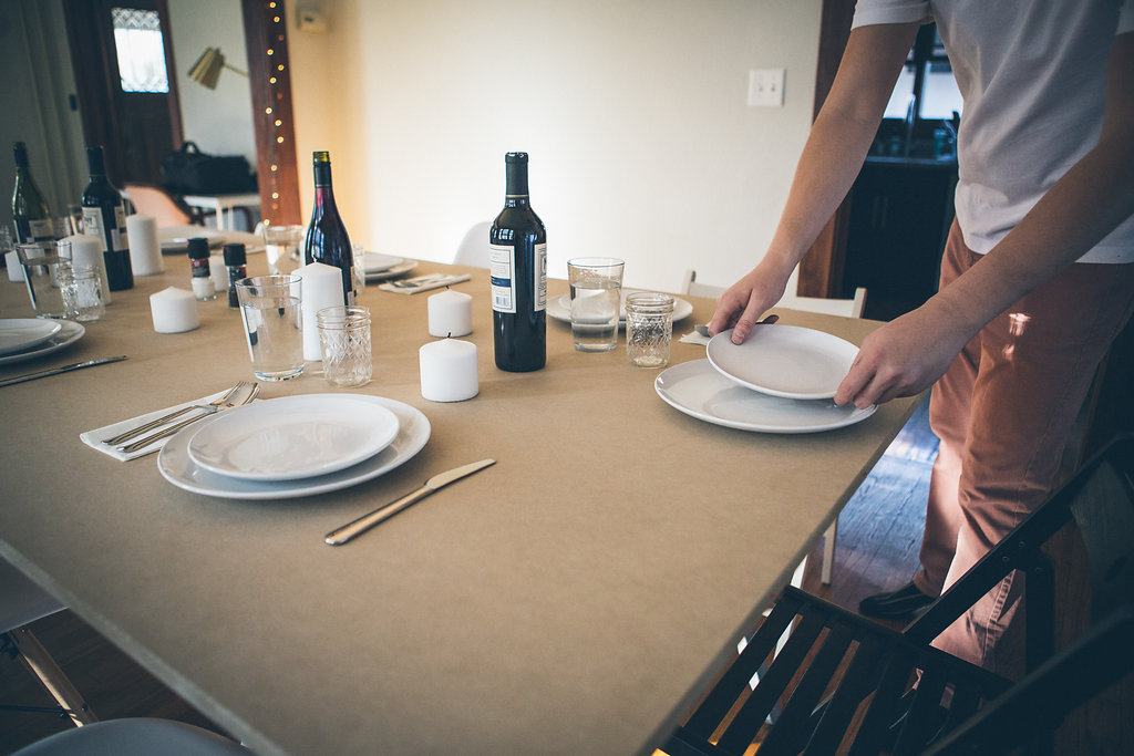 Setting the table for Thanksgiving dinner