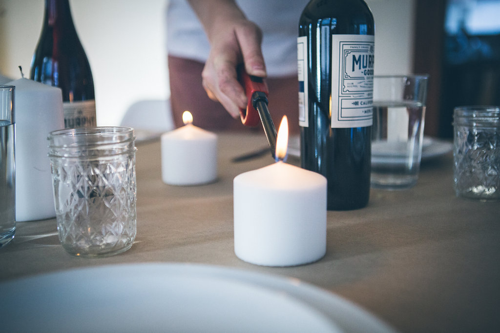 Lighting candles for simple decor