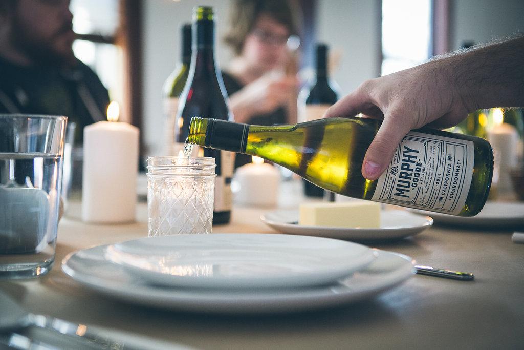 Pouring white wine.