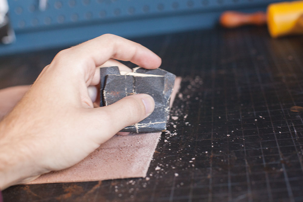 Gluing Leather Step 1
