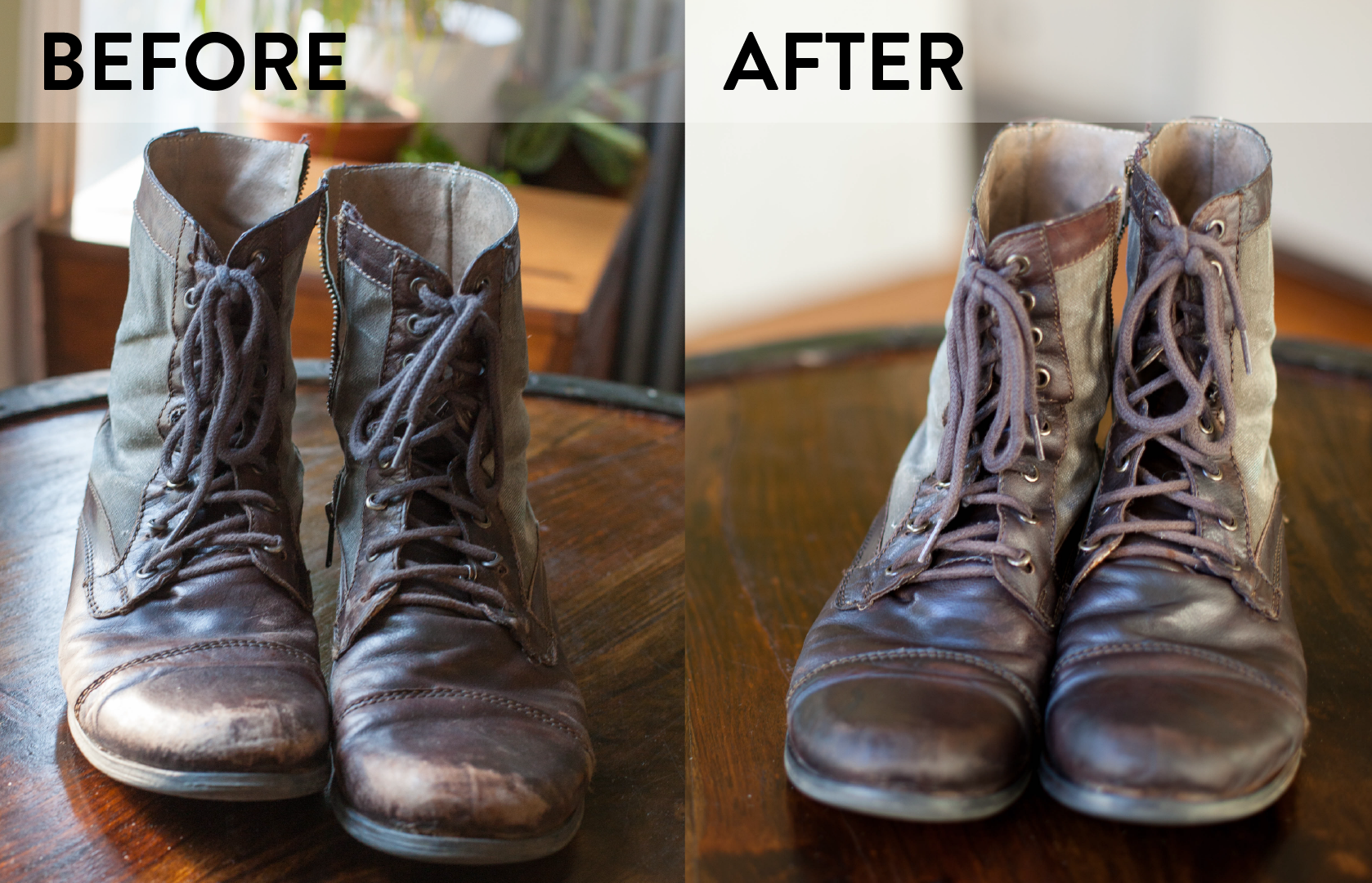 Before and After Caring for Leather