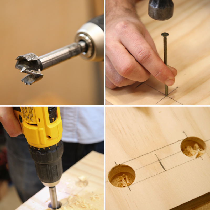 Drilling holes for record storage handles