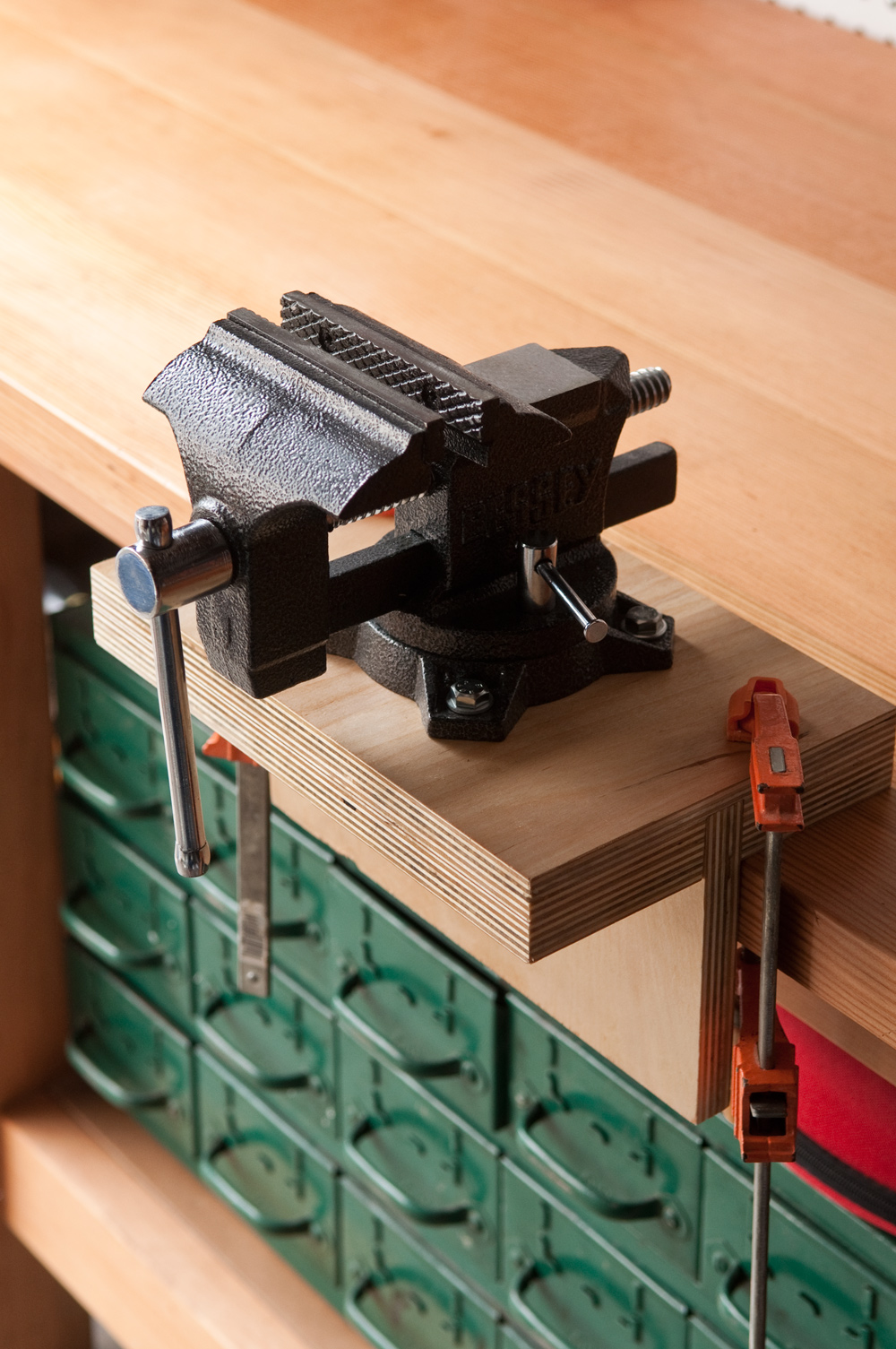 How To Install A Bench Vice Part - 22: To Install Without A Front Vise, Just Use Two Small But Heavy-duty Clamps  On Either Side, Making Sure To Butt The Vertical Piece Right Against The  Edge Of ...