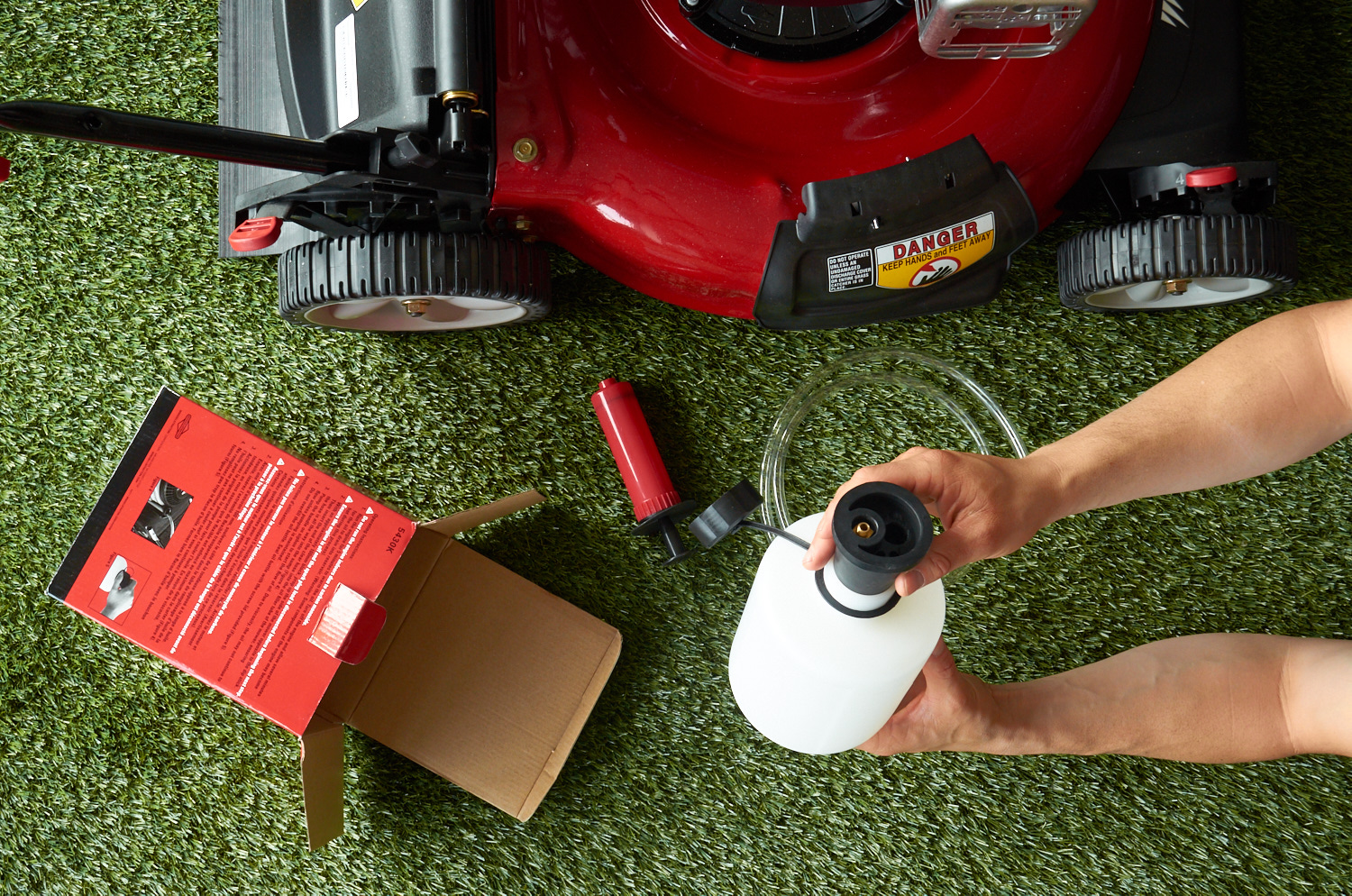 drain lawn mower oil - kit