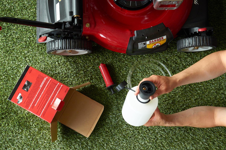 drain lawn mower oil - kit