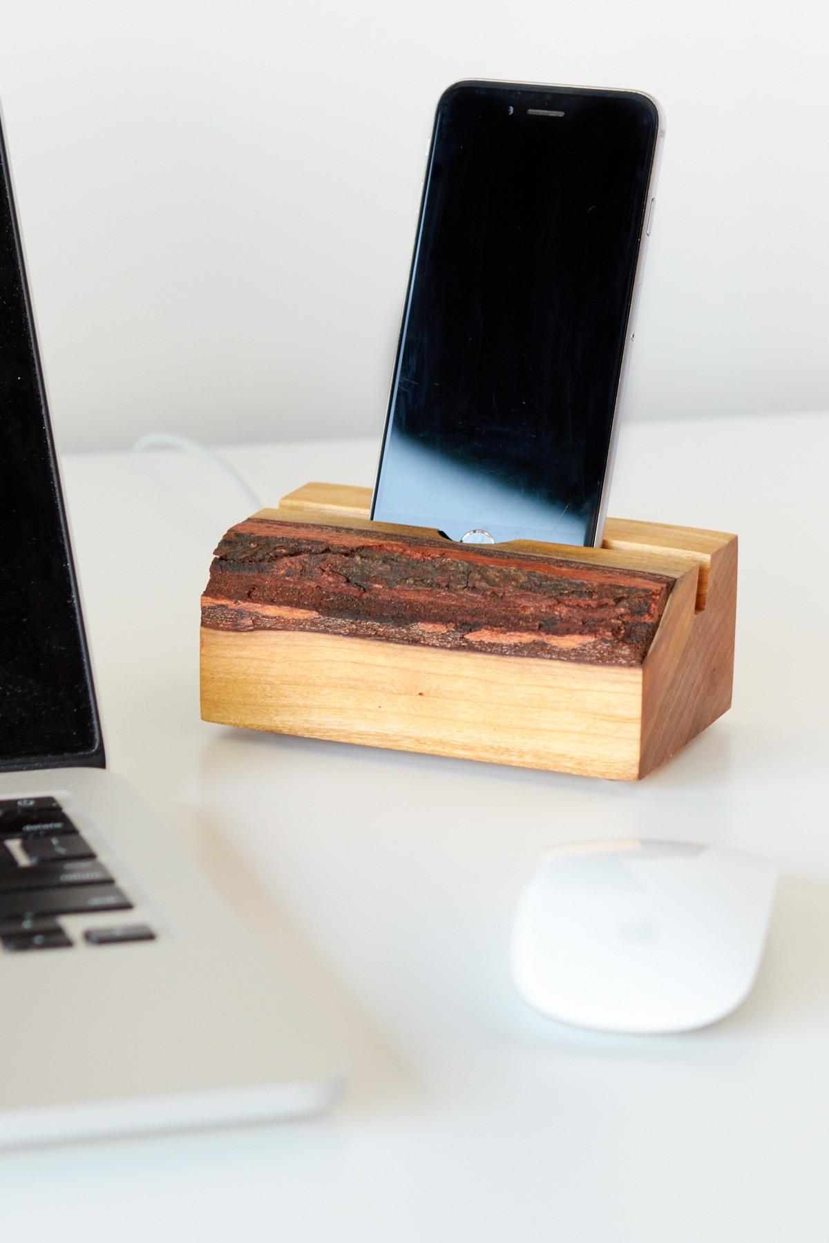 DIY Wood slab phone charger dock