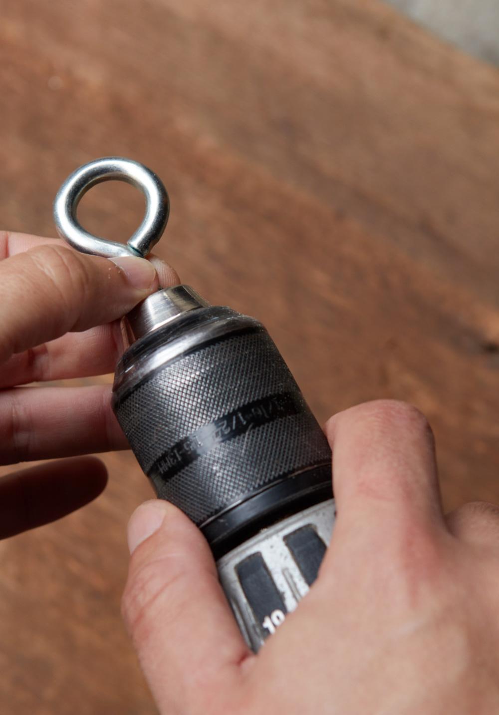 using a screw eye as a drill attachment