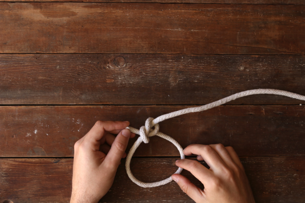 Bowline knot step eight