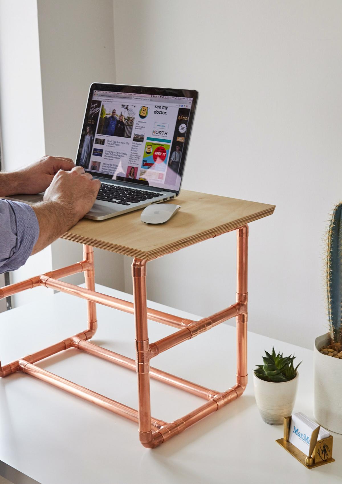 how to make a stylish standing desk riser man made diy crafts for men. Black Bedroom Furniture Sets. Home Design Ideas