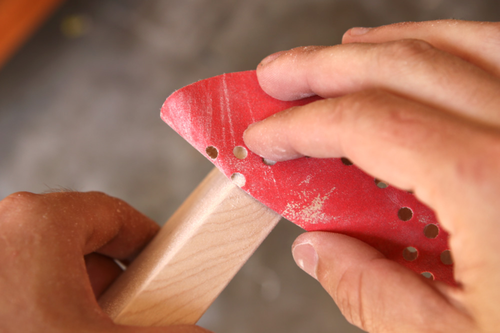 sanding wood using a sanding disc