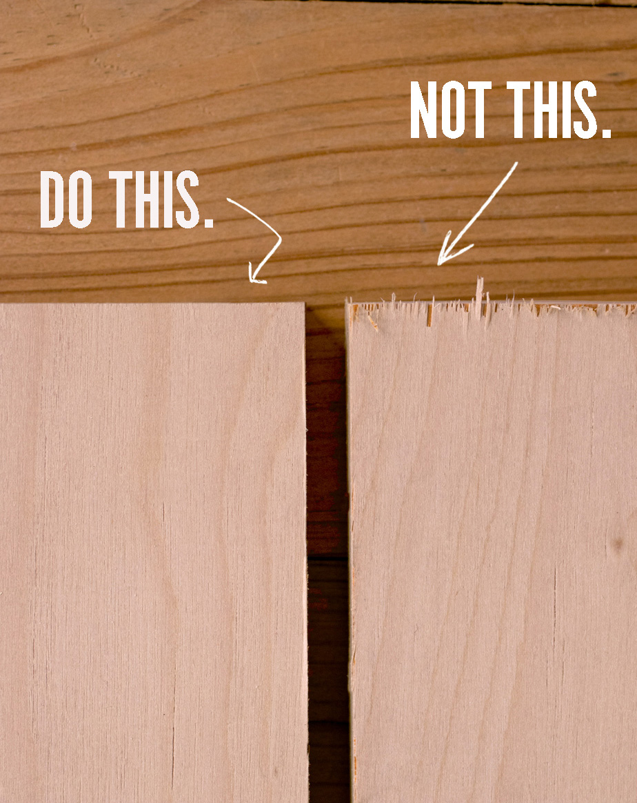 how to prevent tearout and splintering when cutting plywood