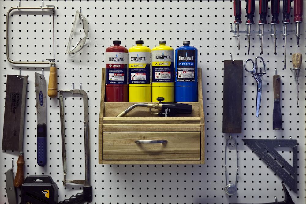 DIY pegboard organizer for Bernzomatic torch supplies