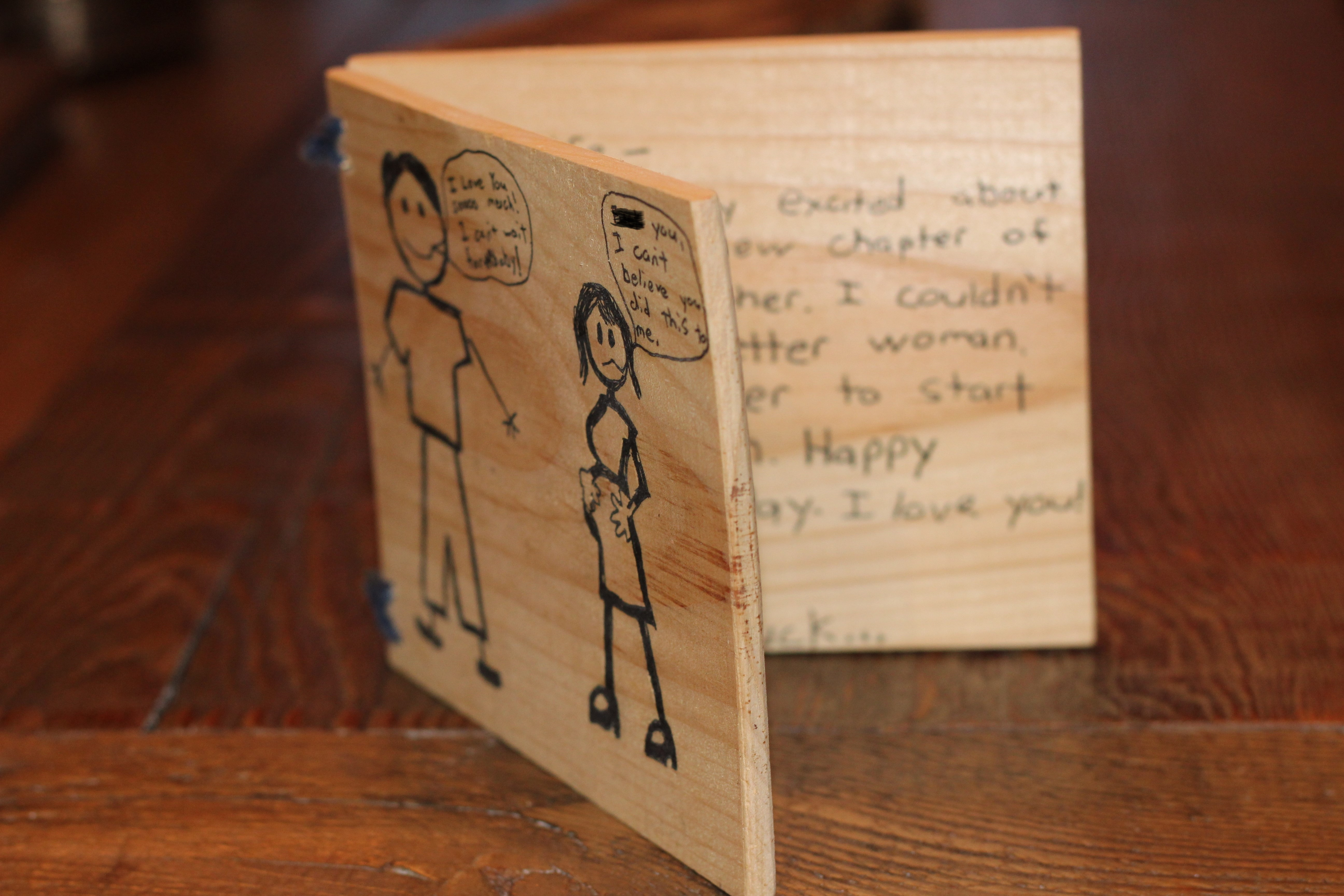 Wooden V-Day Card
