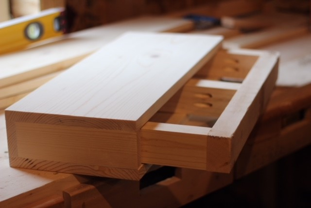 floating shelf made of scrap wood