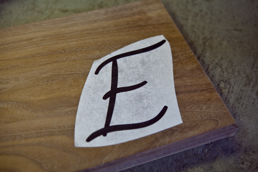 lay out typographic design on wood