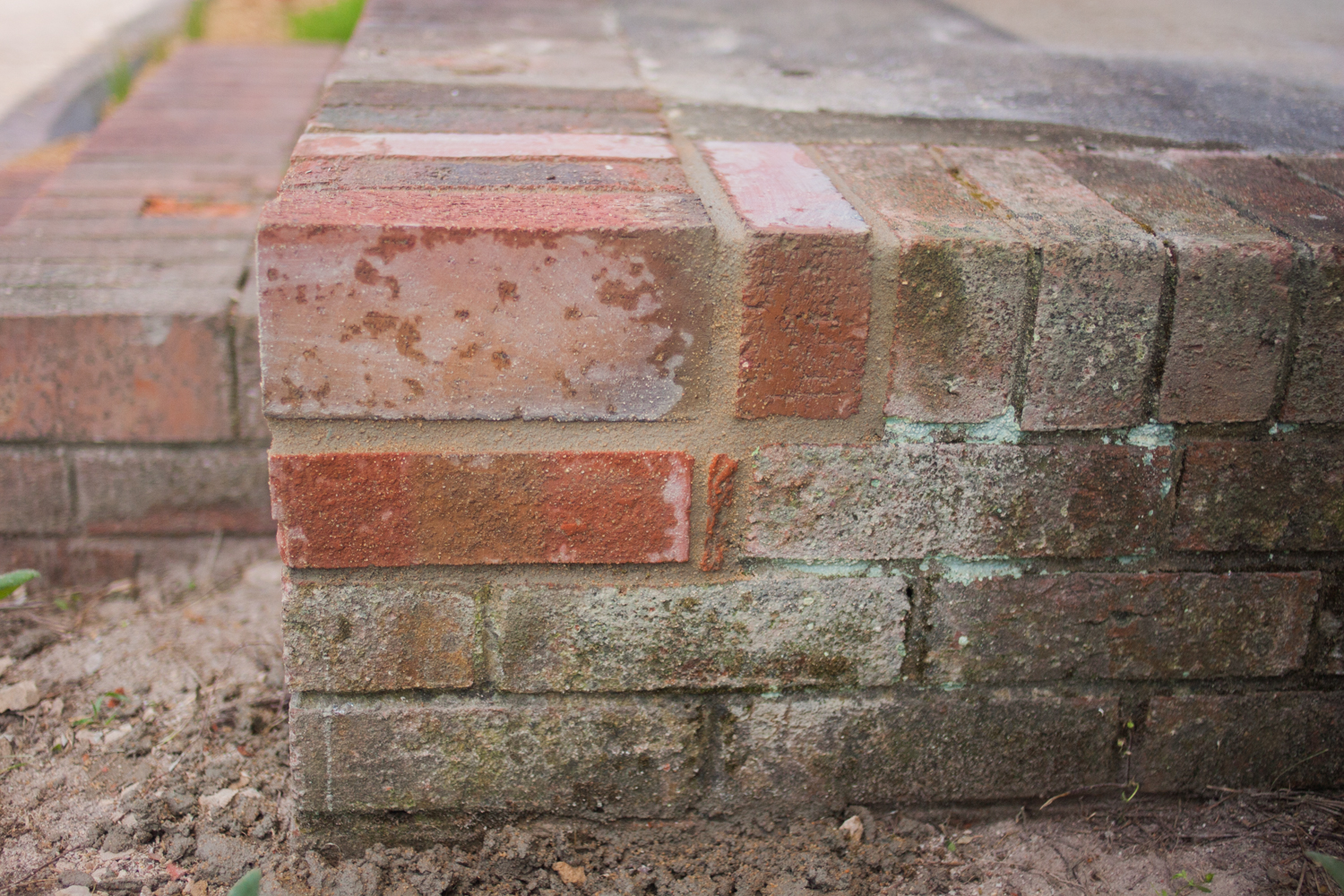 side view of newly repaired brick entryway