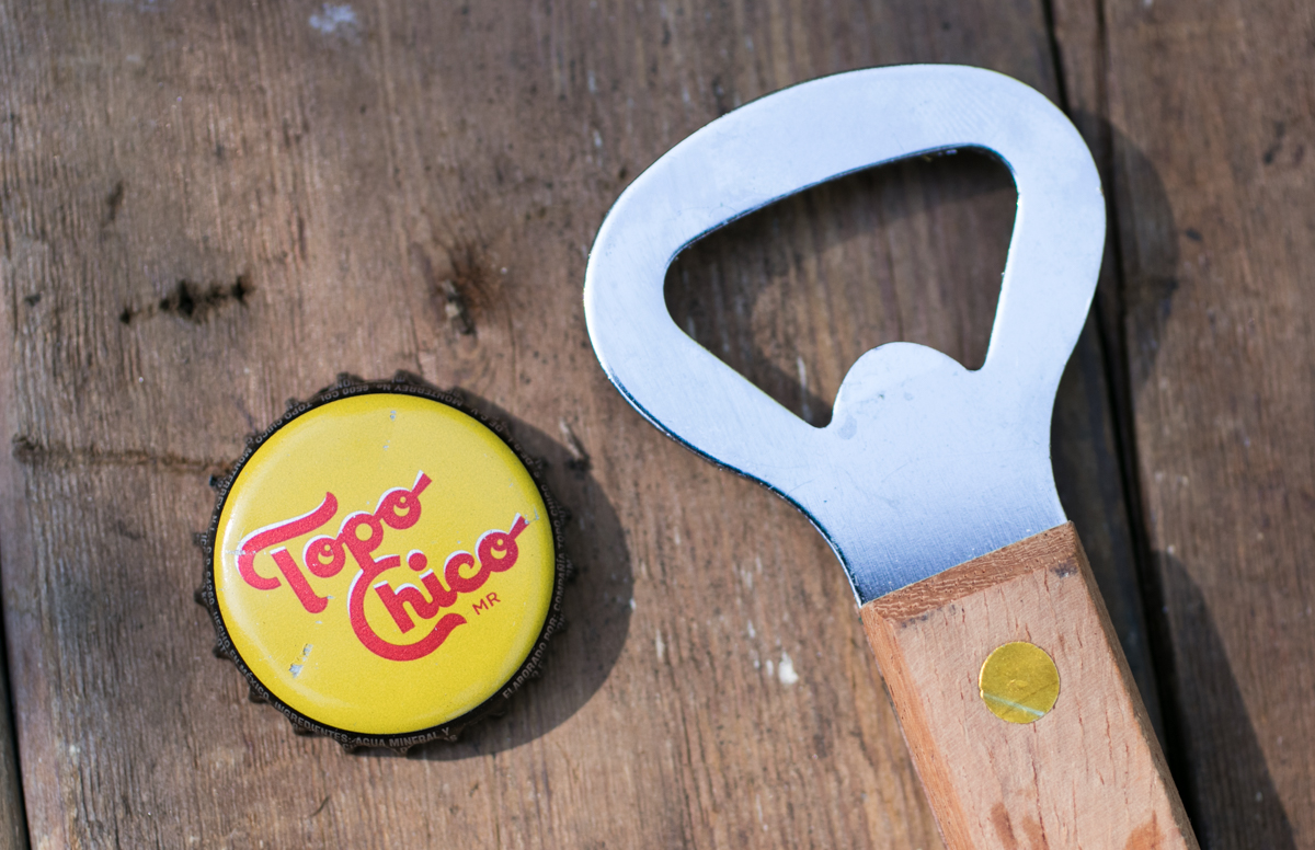 Topo Chico bottle cap and bottle opener