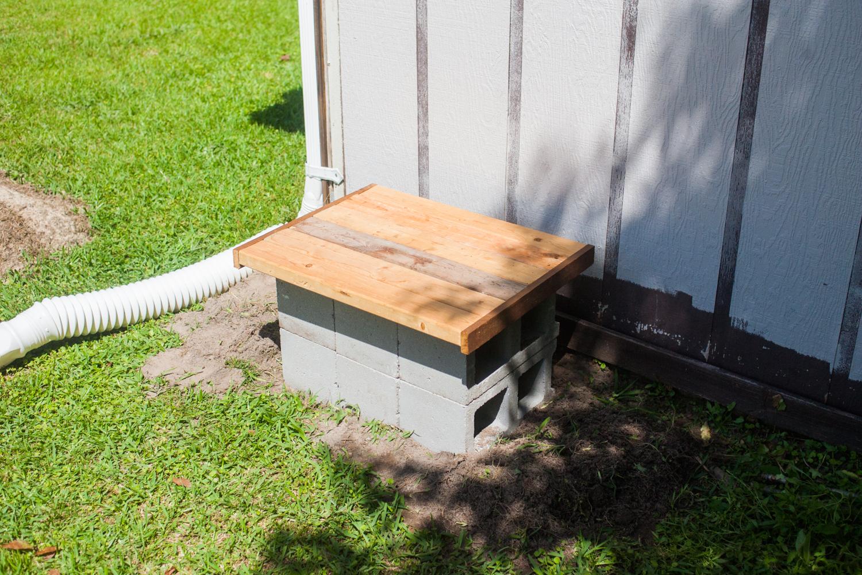 wood platform for rain barrel