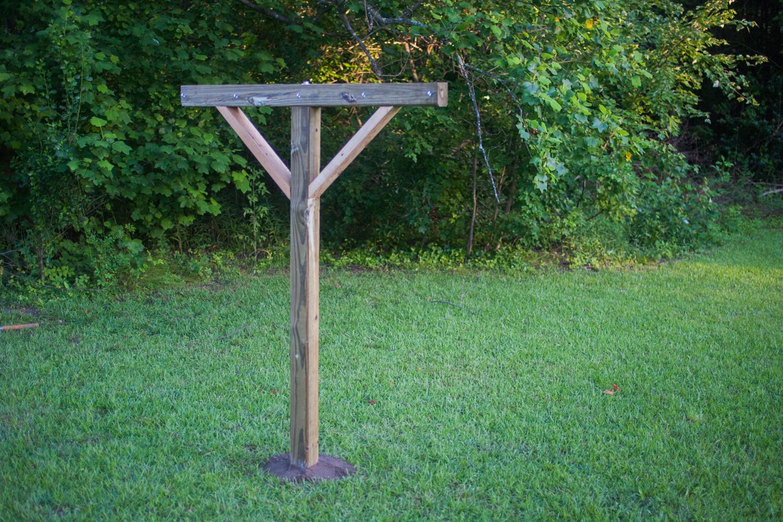 clothesline post set into the ground