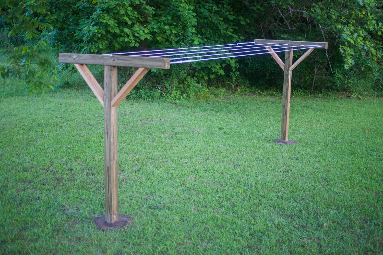 finished DIY clothesline