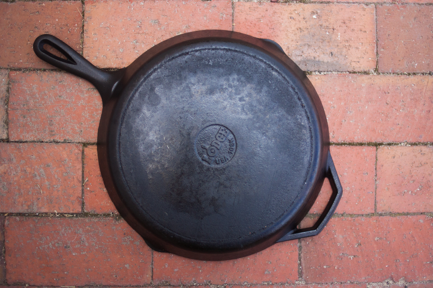 Bottom of a cast iron skillet