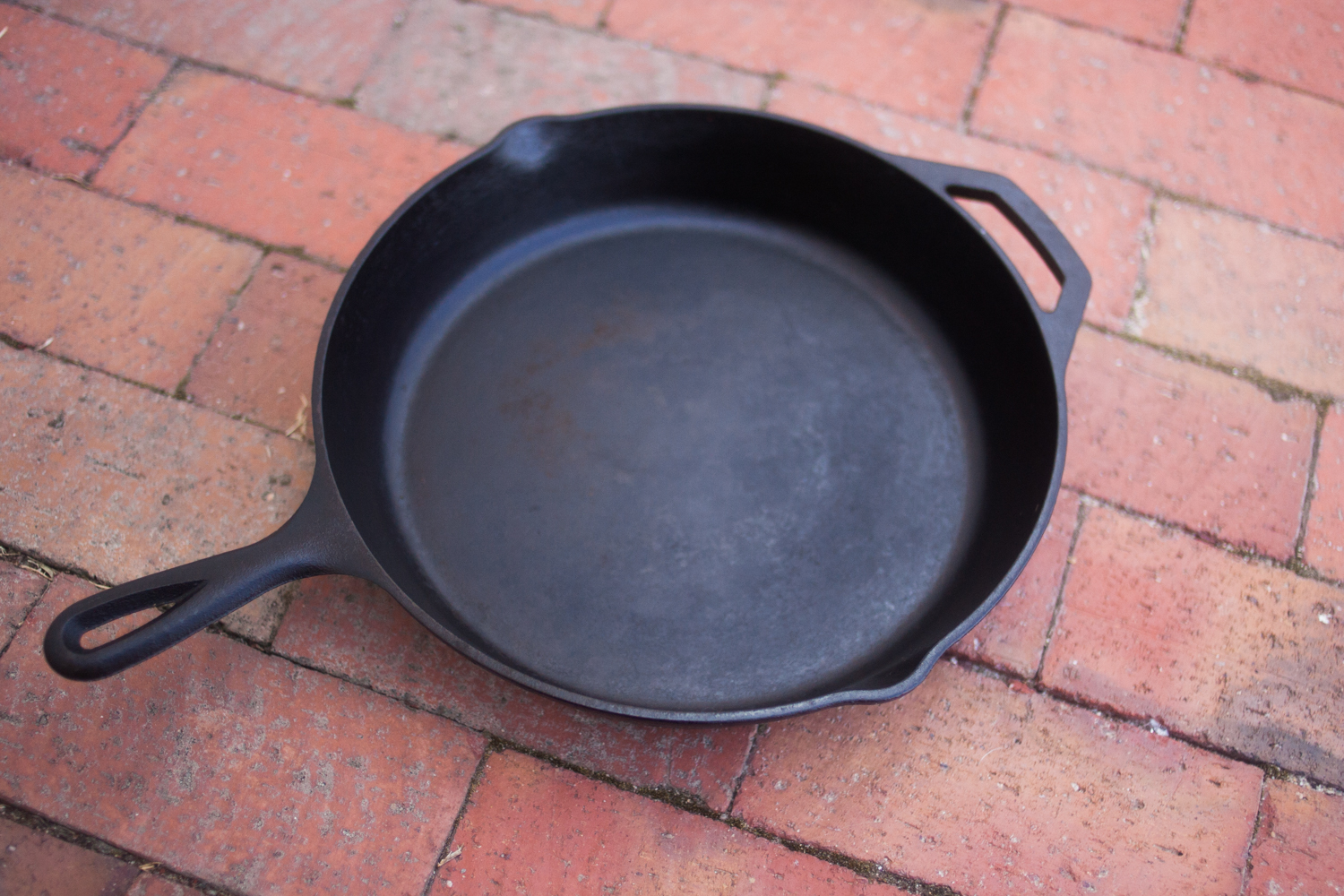 A cast iron skillet