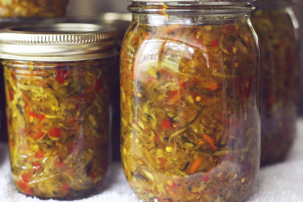 Closeup of sweet zucchini relish