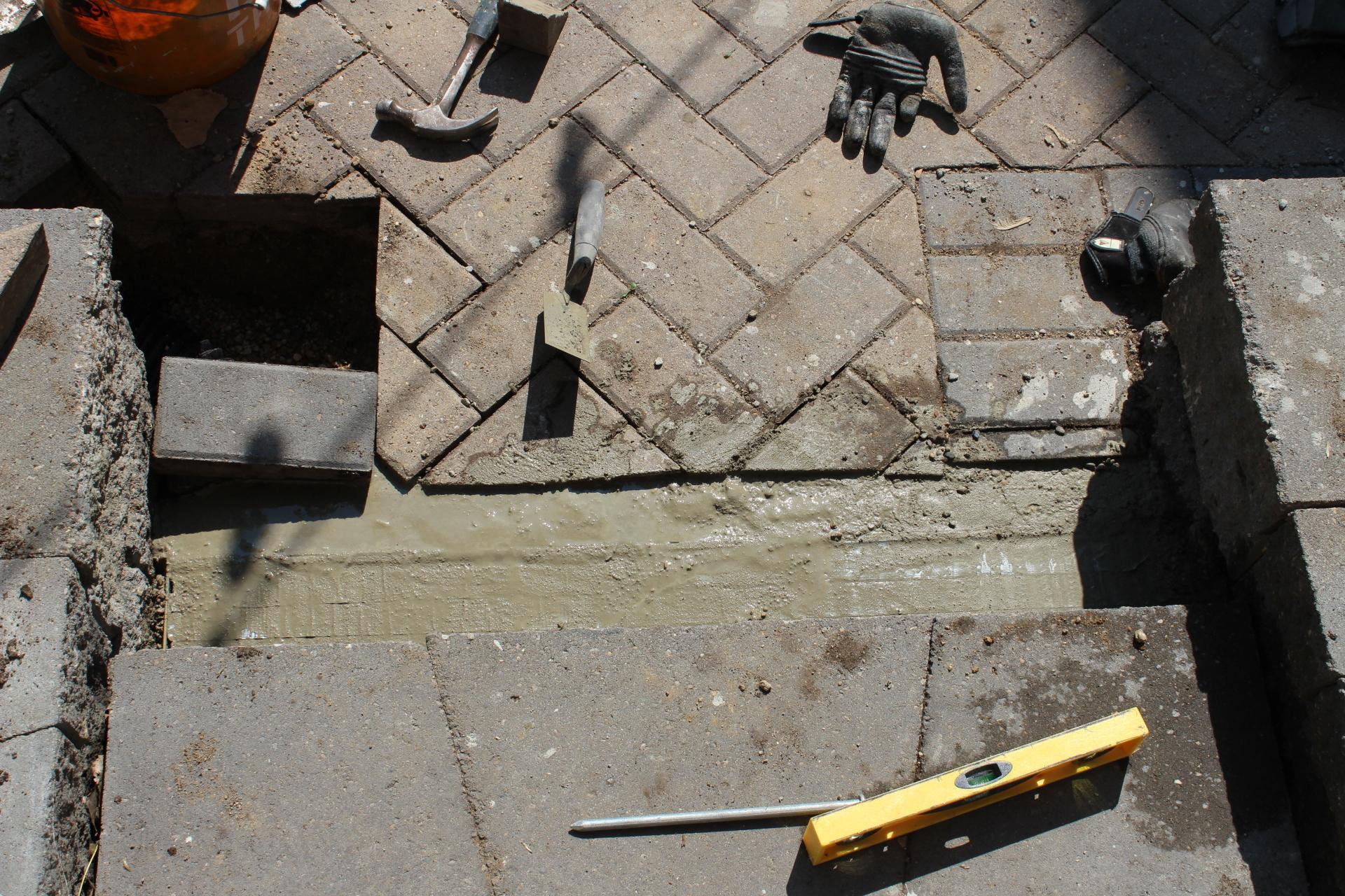 concrete in drain