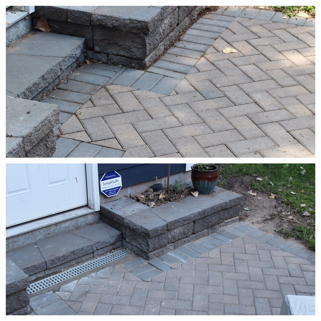 before and after installation of channel drain